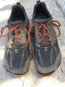 Dave's hiking shoes after his 211 mile walk along the John Muir Trail